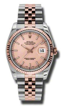 86934913ac5 Rolex Datejust Steel and Rose Gold Pink Champagne Stick Dial 36mm