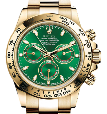 Rolex Daytona Yellow Gold Green Dial on Oyster Bracelet on Oyster 40mm