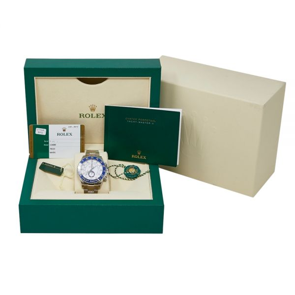 Rolex Pre Owned Yacht Master II Steel White Dial on Oyster 44mm Complete Box and Papers