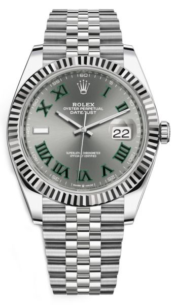 Rolex Datejust 41 Steel and White Gold Slate with Green Roman Dial Jubilee Bracelet 41mm