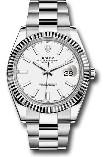 Rolex Datejust 41 Steel and White Gold White Stick Dial Oyster Bracelet 41mm