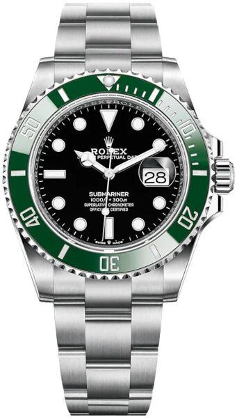 Rolex Submariner Date Steel 'Kermit/Starbucks' Green Ceramic Bezel Black Dial on Oyster 41mm