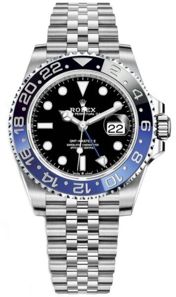 Rolex GMT-Master II Steel Black Dial Black and Blue 'Batman' Bezel on Jubilee Bracelet 40mm