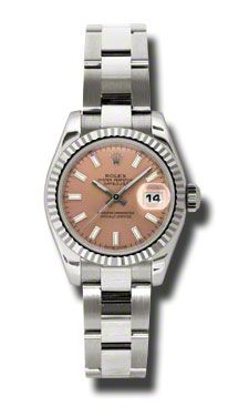 Rolex Pre Owned Datejust White Gold Pink Stick Dial on Oyster 26mm