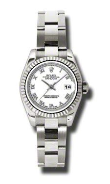 Rolex Pre Owned Datejust White Gold White Roman Dial on Oyster 26mm