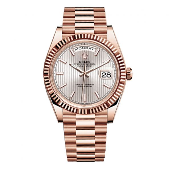 Rolex Day Date 40 President Rose Gold Fluted Bezel Sundust Stripe Stick Dial on Presidential Bracelet 40mm