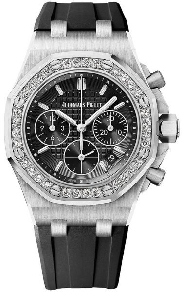 Audemars Piguet Royal Oak Offshore Steel with Black Lady Tappisserie dial on Strap 37mm