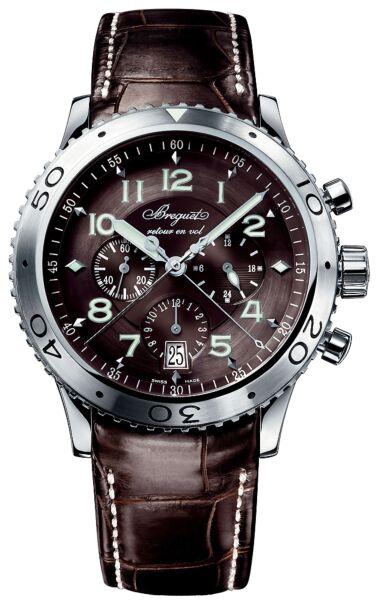 Transatlantique Type XXI Flyback Ruthenium Dial Brown Leather Automatic Men's Watch