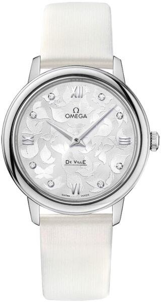 De Ville White Diamond Dial White Satin Ladies Watch