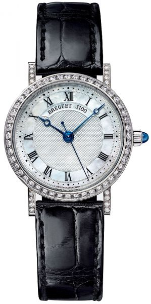 Classique Mother of Pearl Dial 18kt White Gold Diamond Black Leather Ladies Watch