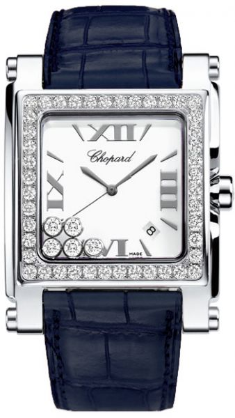 Happy Sport Square Mother of Pearl Dial Blue Leather Ladies Watch