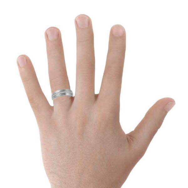 Diamond Line Mens Wedding Ring